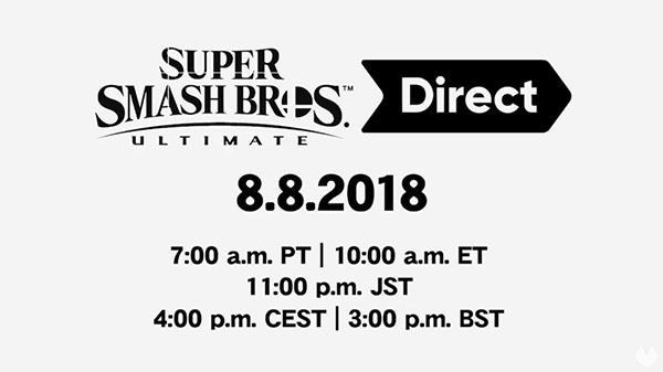Nintendo anuncia un Direct dedicado a Super Smash Bros. Ultimate