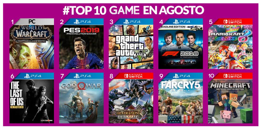 Los juegos más vendidos de agosto en GAME