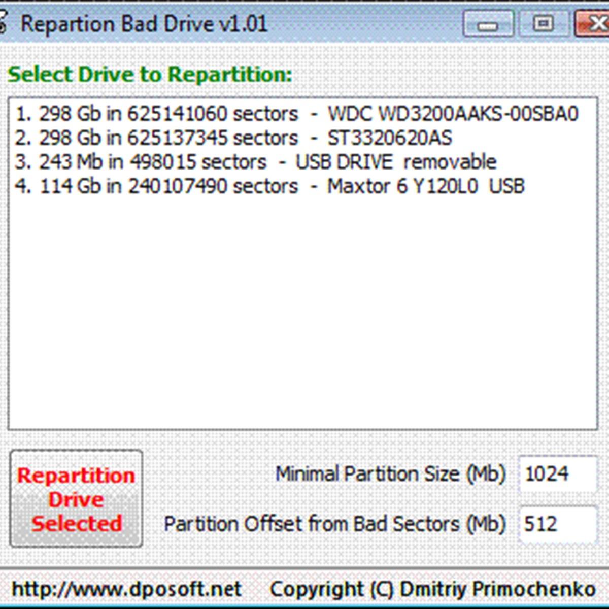 Repartition Bad Drive