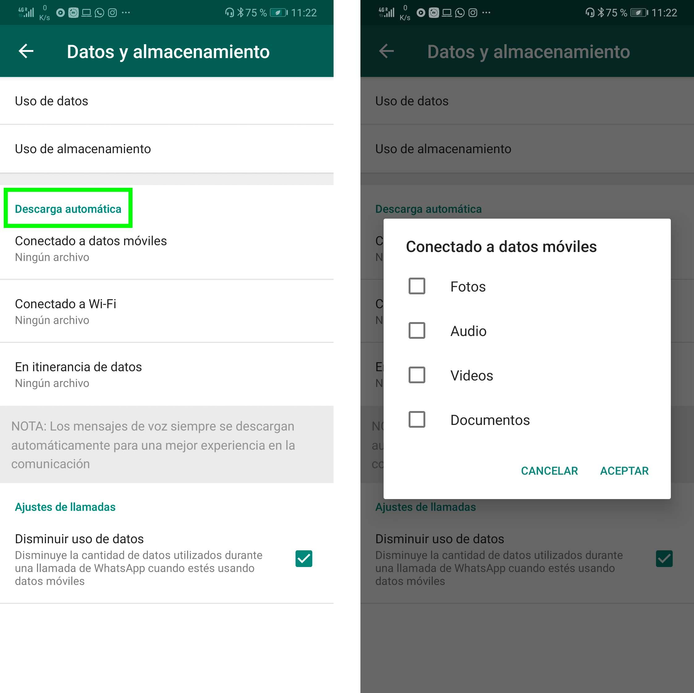 Ahorrar datos WhatsApp