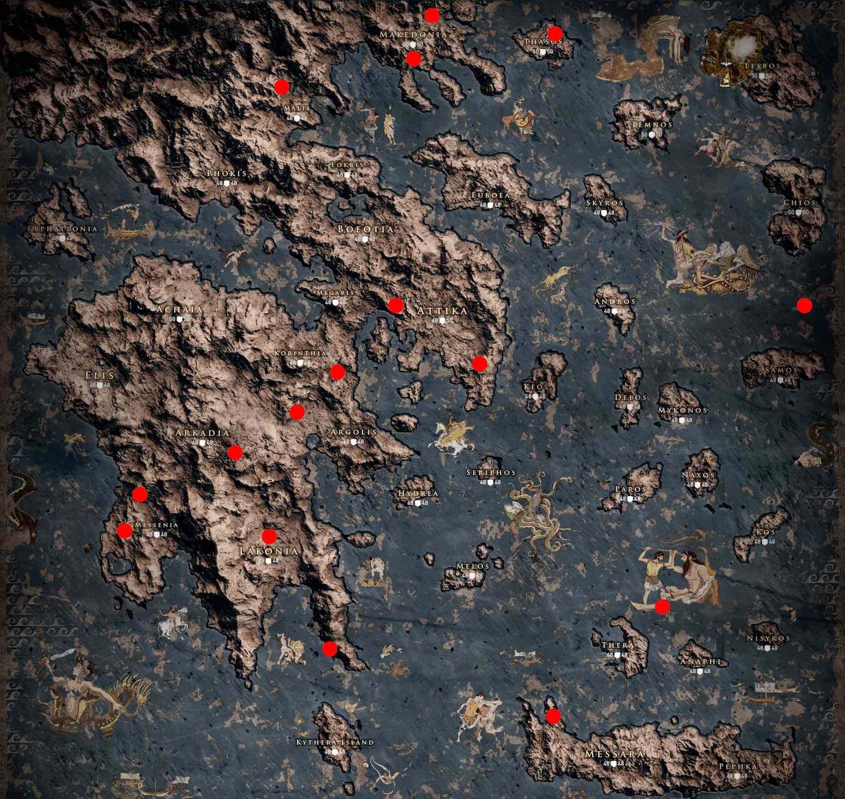 Assassin's Creed Odyssey mapa cofres legendarios