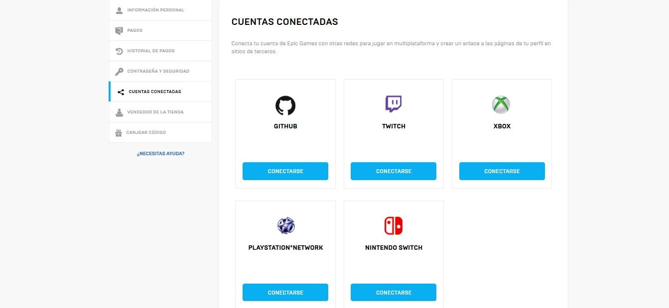Cuentas conectadas Epic Games
