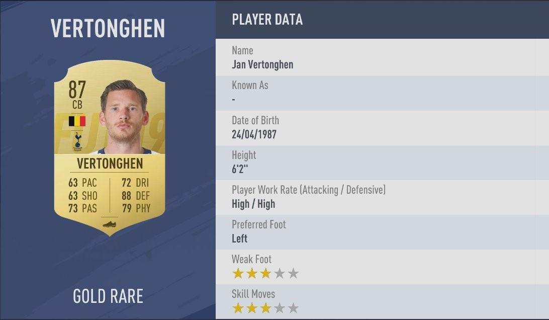FIFA 19 - Jan Vertonghen