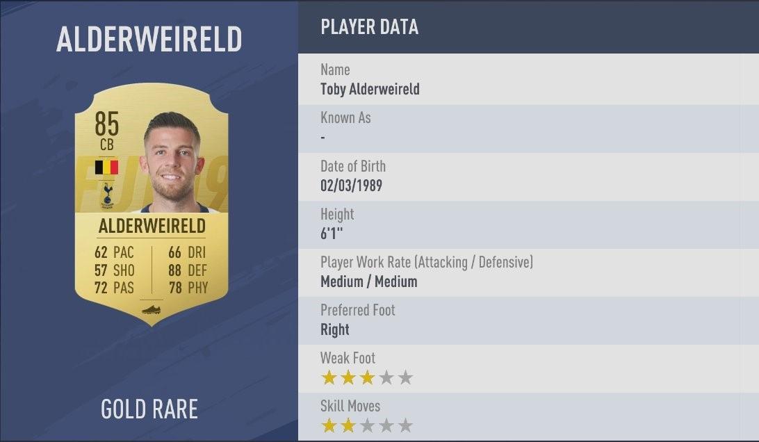 FIFA 19 - Toby Alderweireld