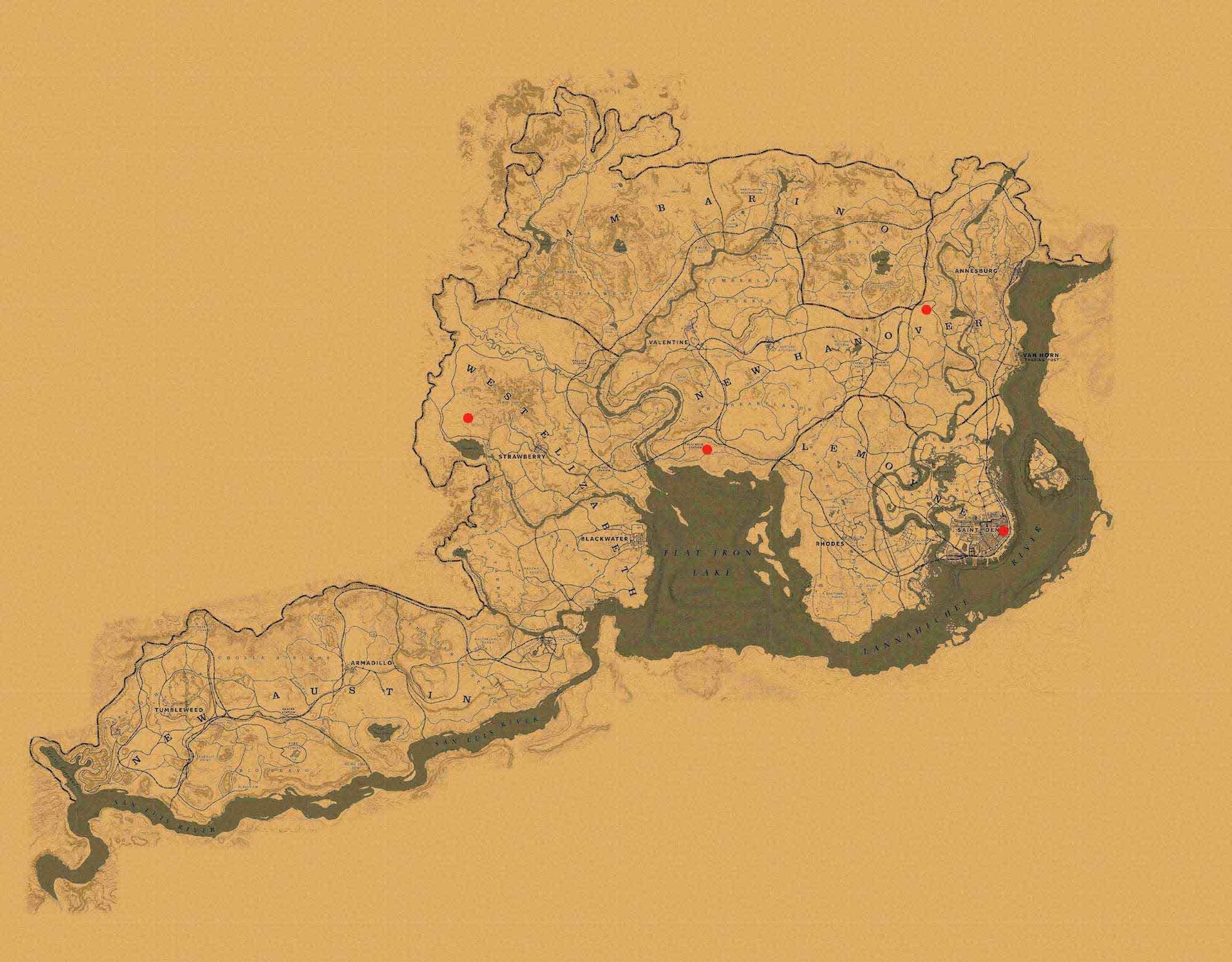 Trampero Red Dead Redemption mapa