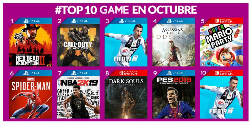 Los juegos más vendidos de octubre en GAME