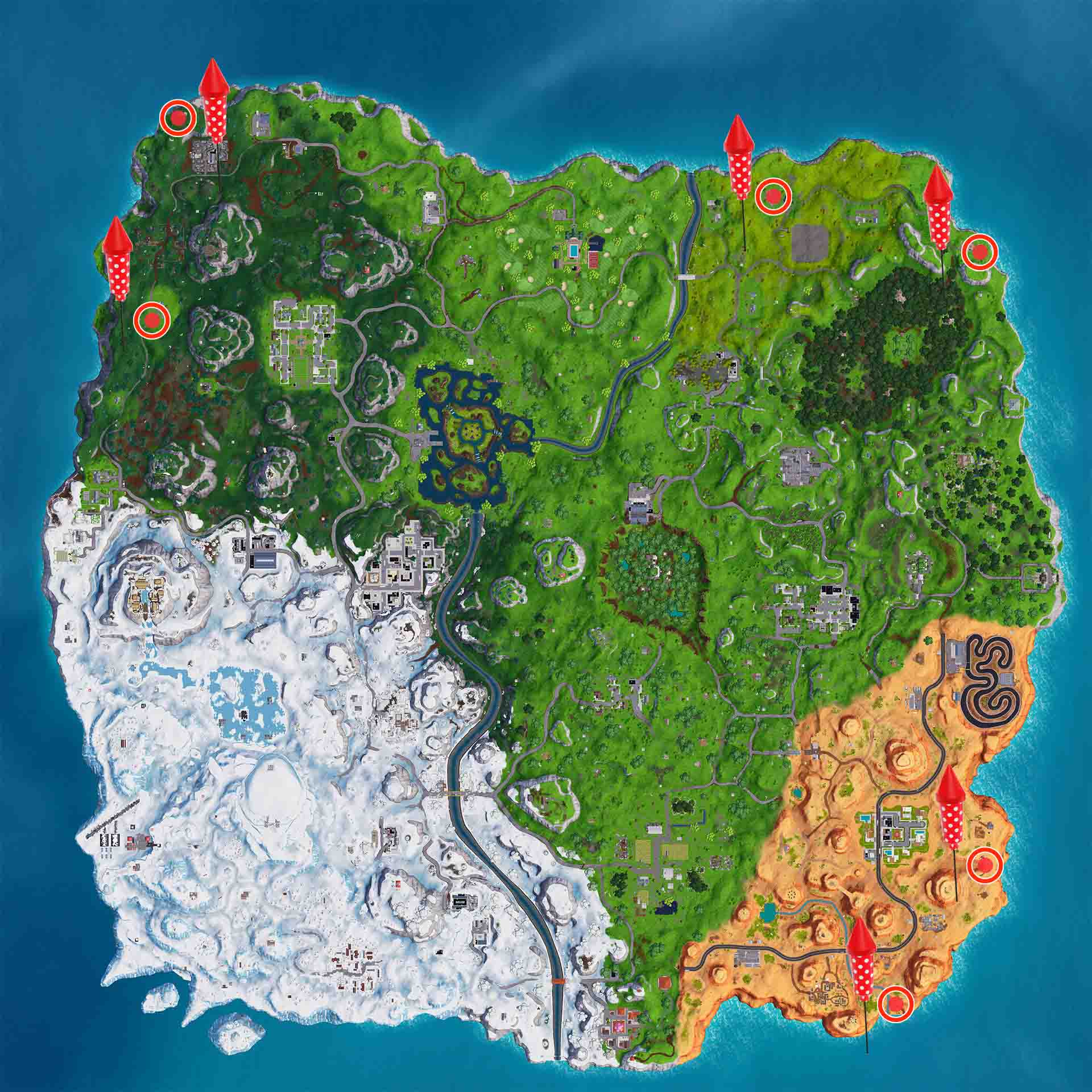 Lanza Fuegos Artificiales Fortnite mapa