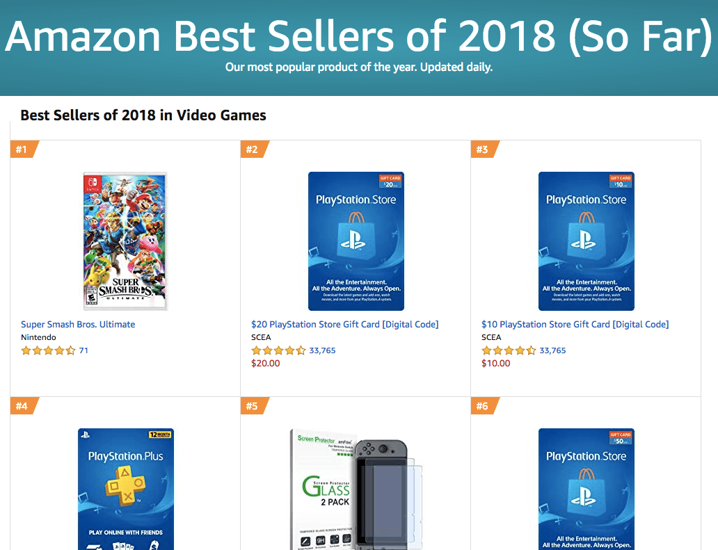 Super Smash Bros. Ultimate más vendido Amazon 2018