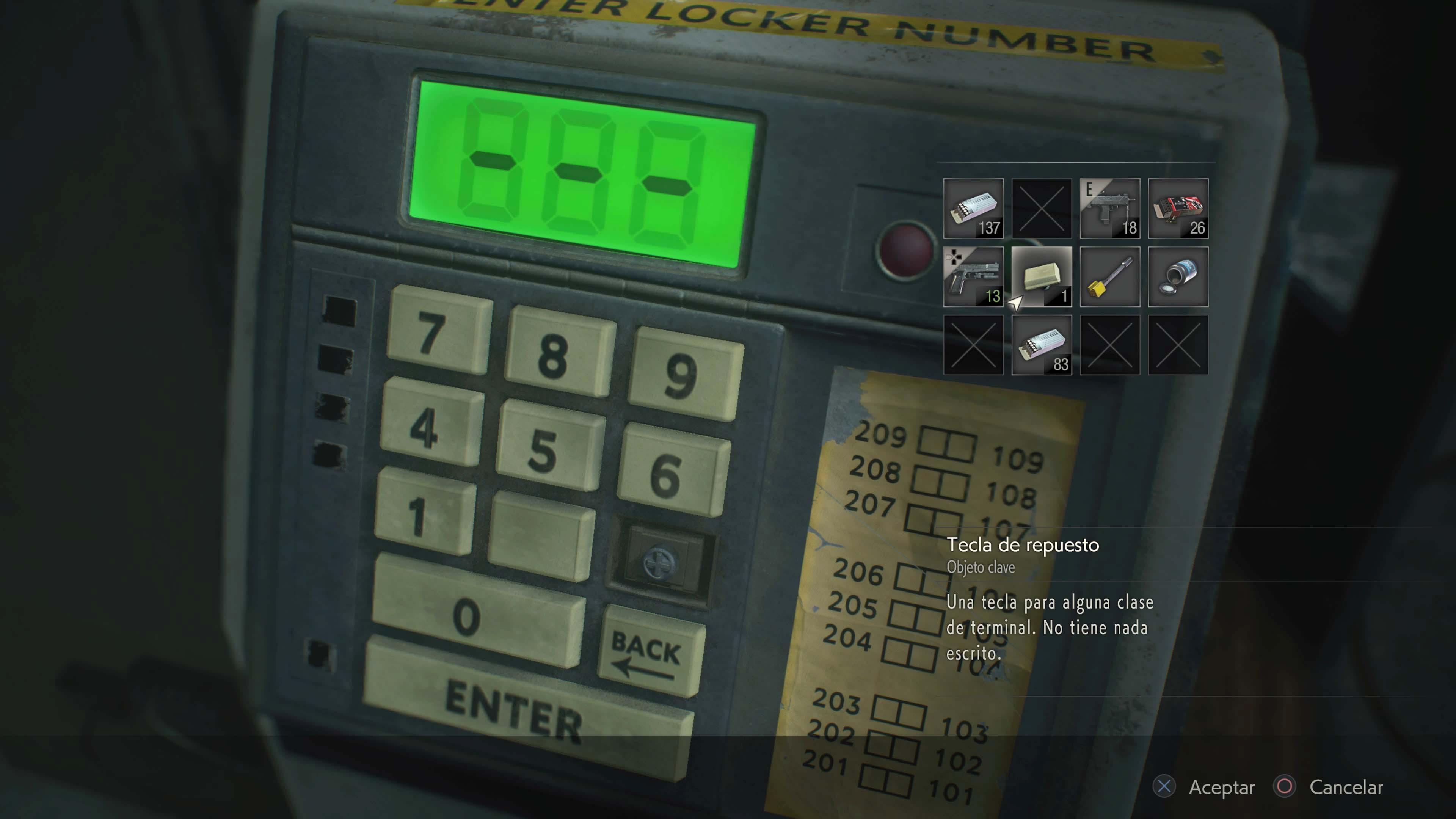 codigo teclado numerico resident evil 2 remake