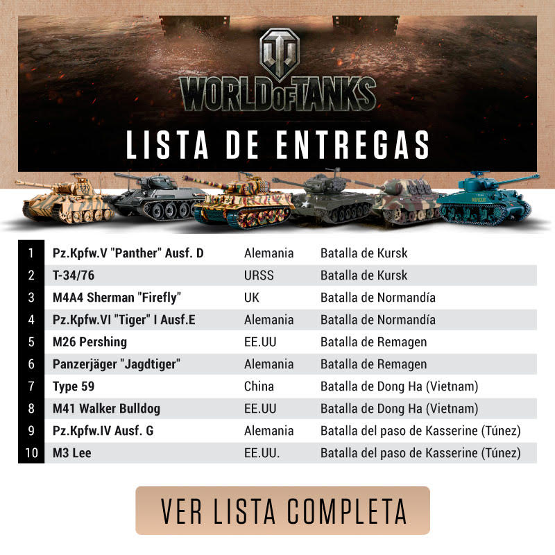Lista de entregas World of Tanks