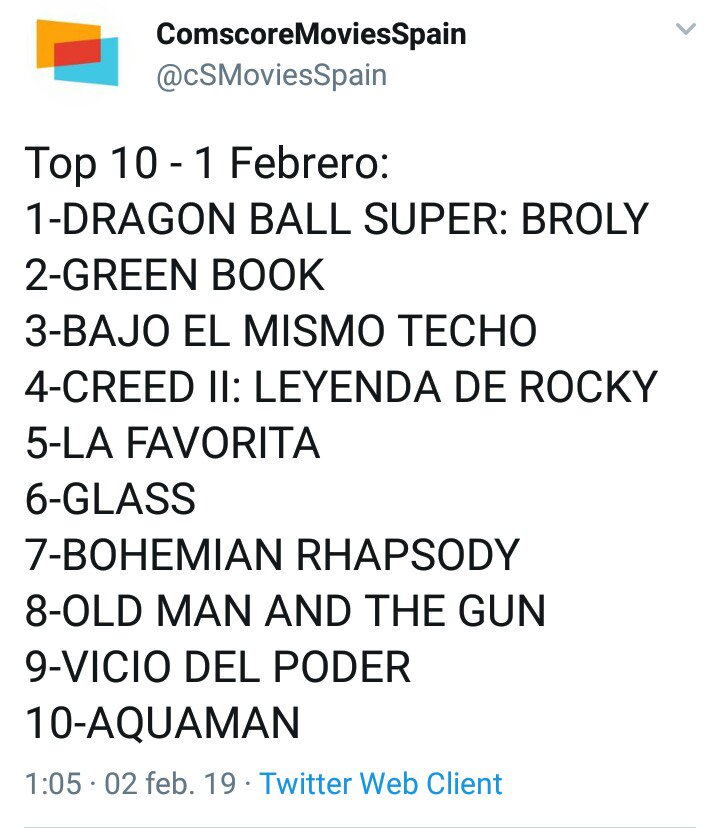 Dragon Ball Super Broly número 1 en España