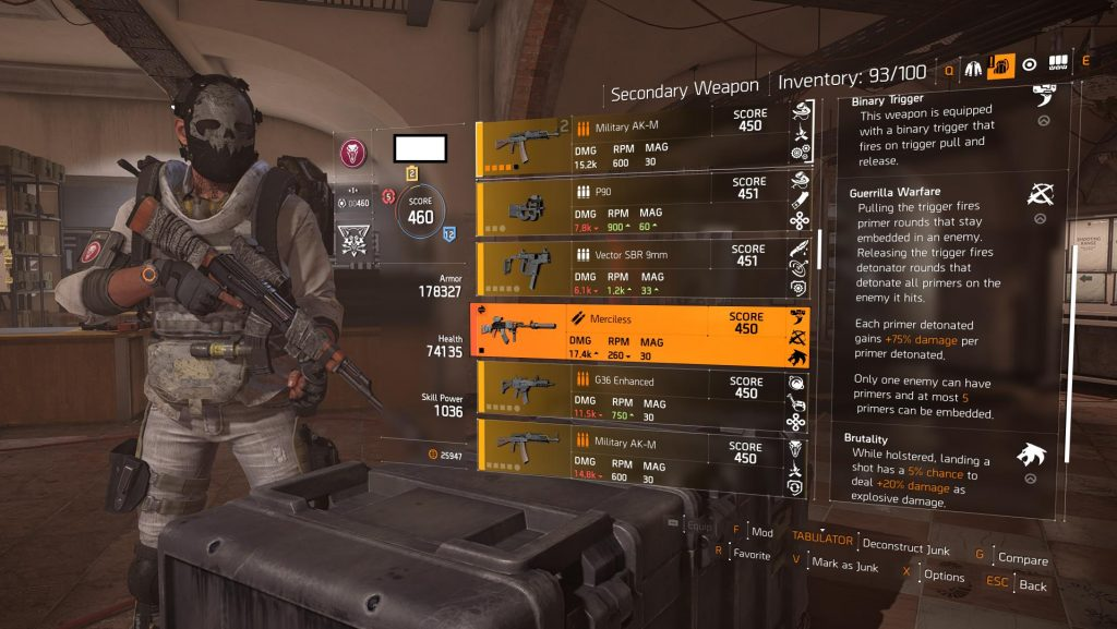 Armas exóticas The Division 2