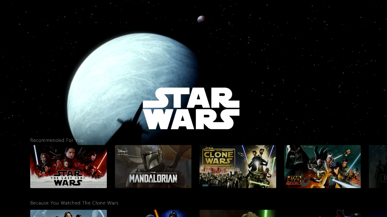 Demo de la interfaz de Disney+ de Star Wars