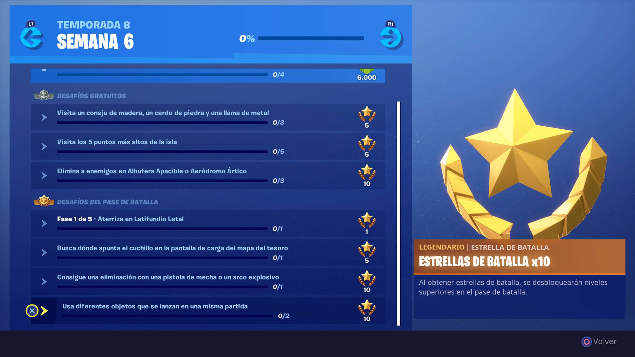 Desafíos semana 6 temporada 8 Fortnite