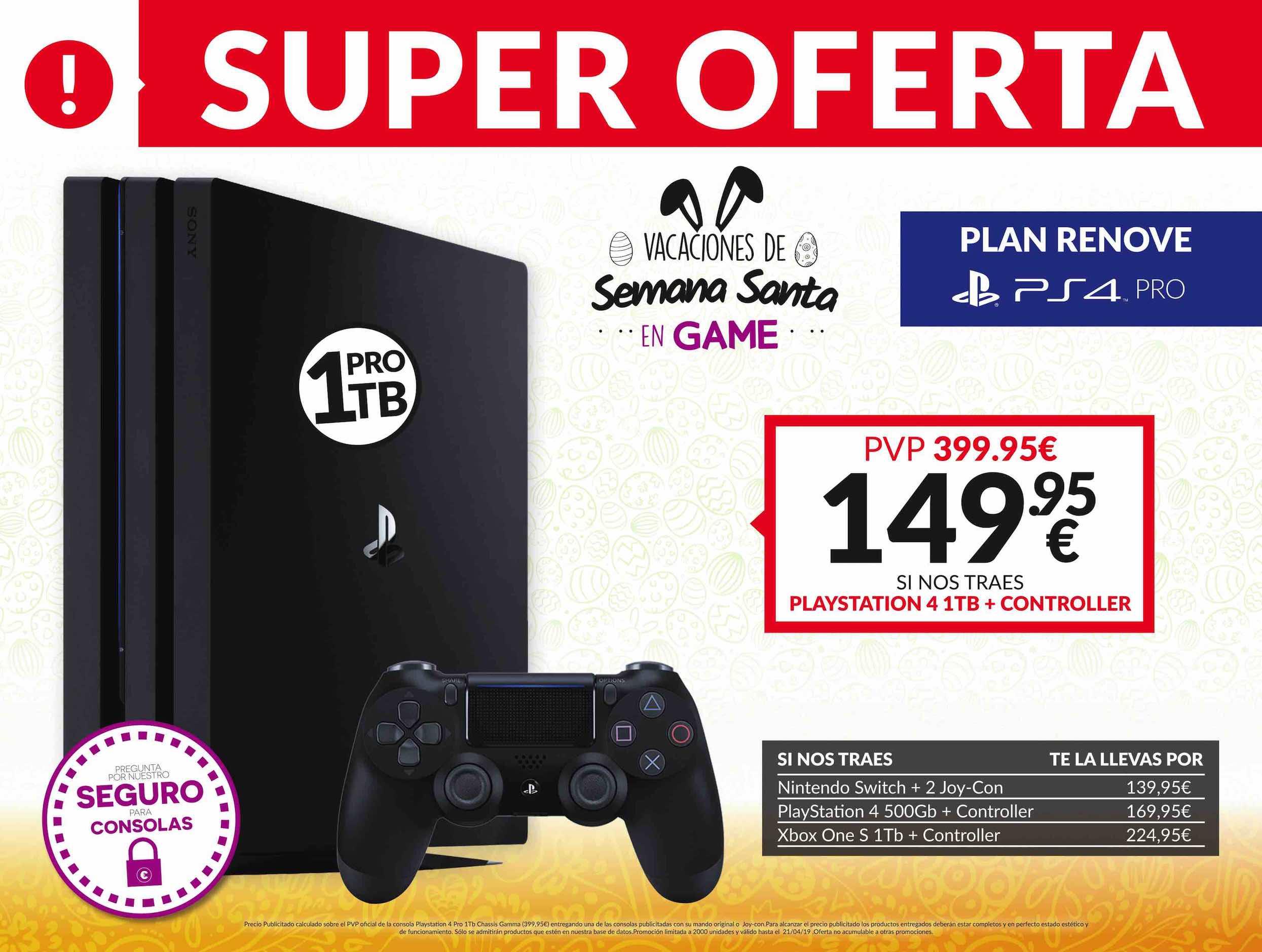 Plan Renove PS4 Pro en GAME