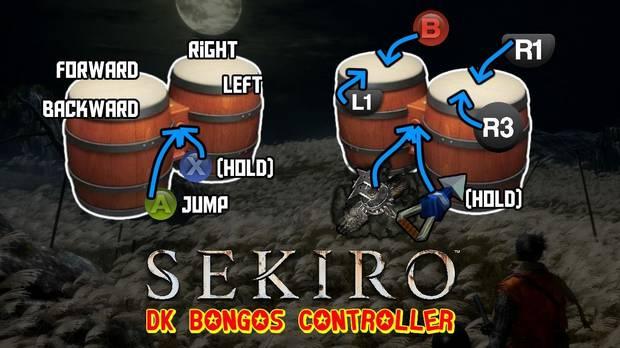 Sekiro con los bongos de Donkey Konga