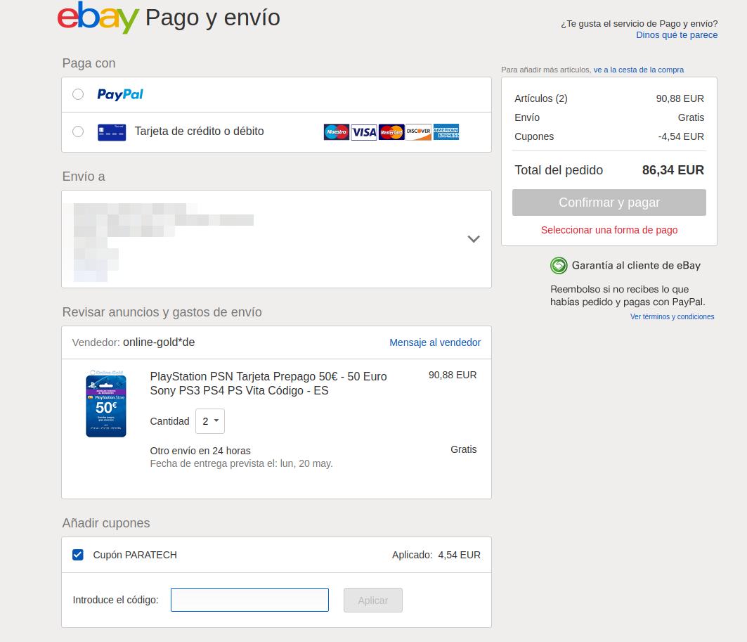 Cupón paratech Ebay
