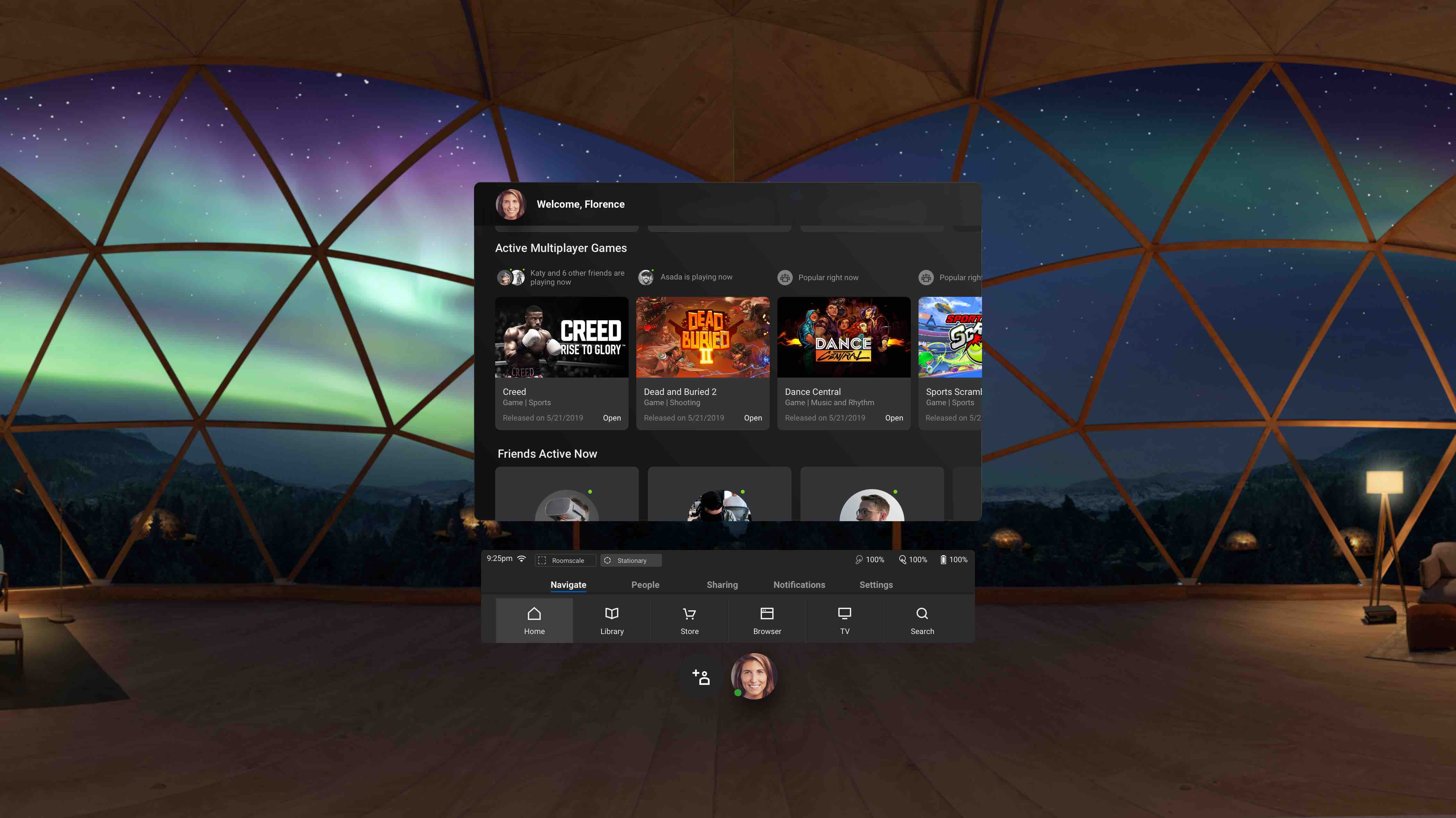 Oculus Quest menu