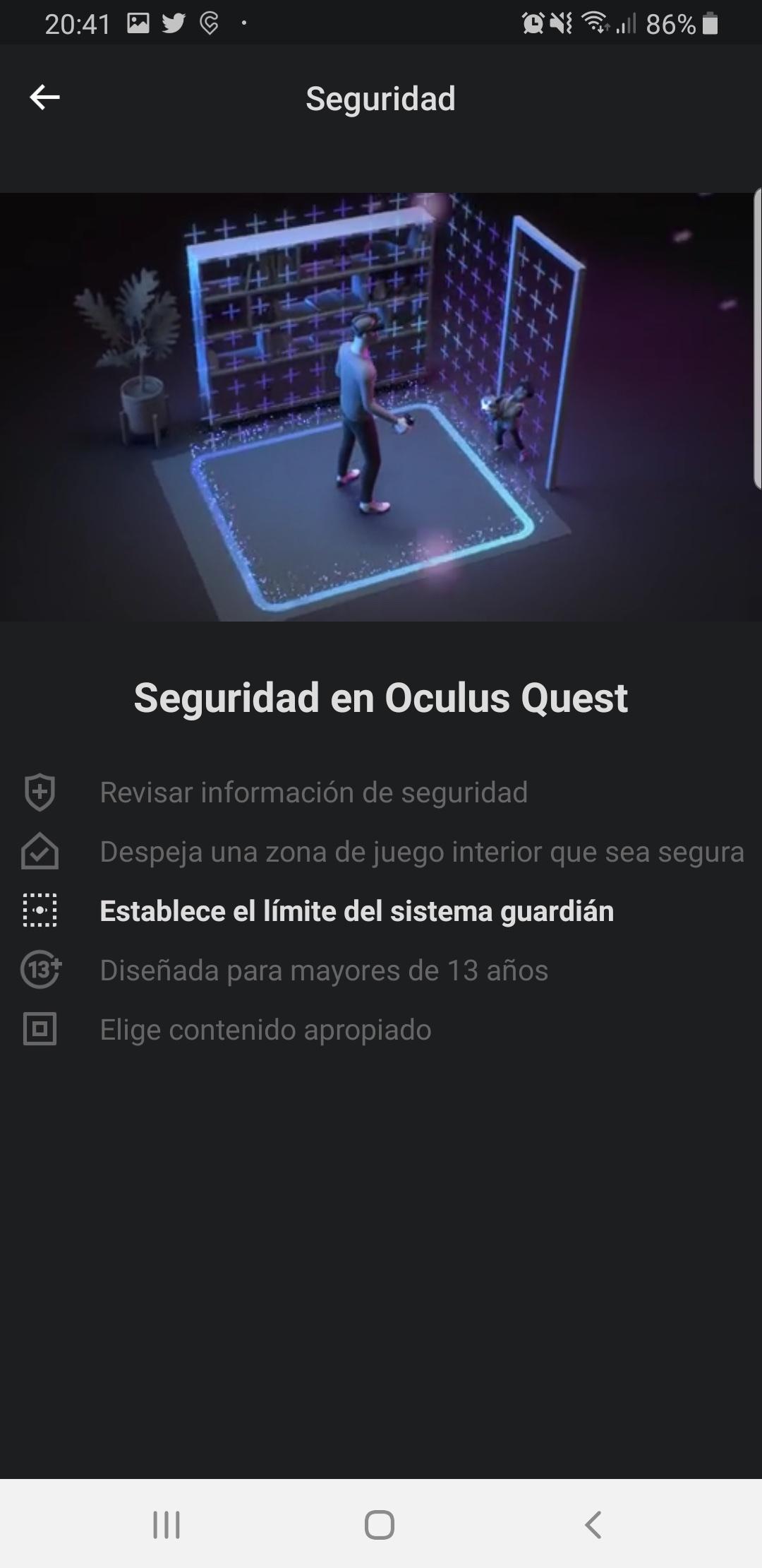 Oculus Quest sistema guardián