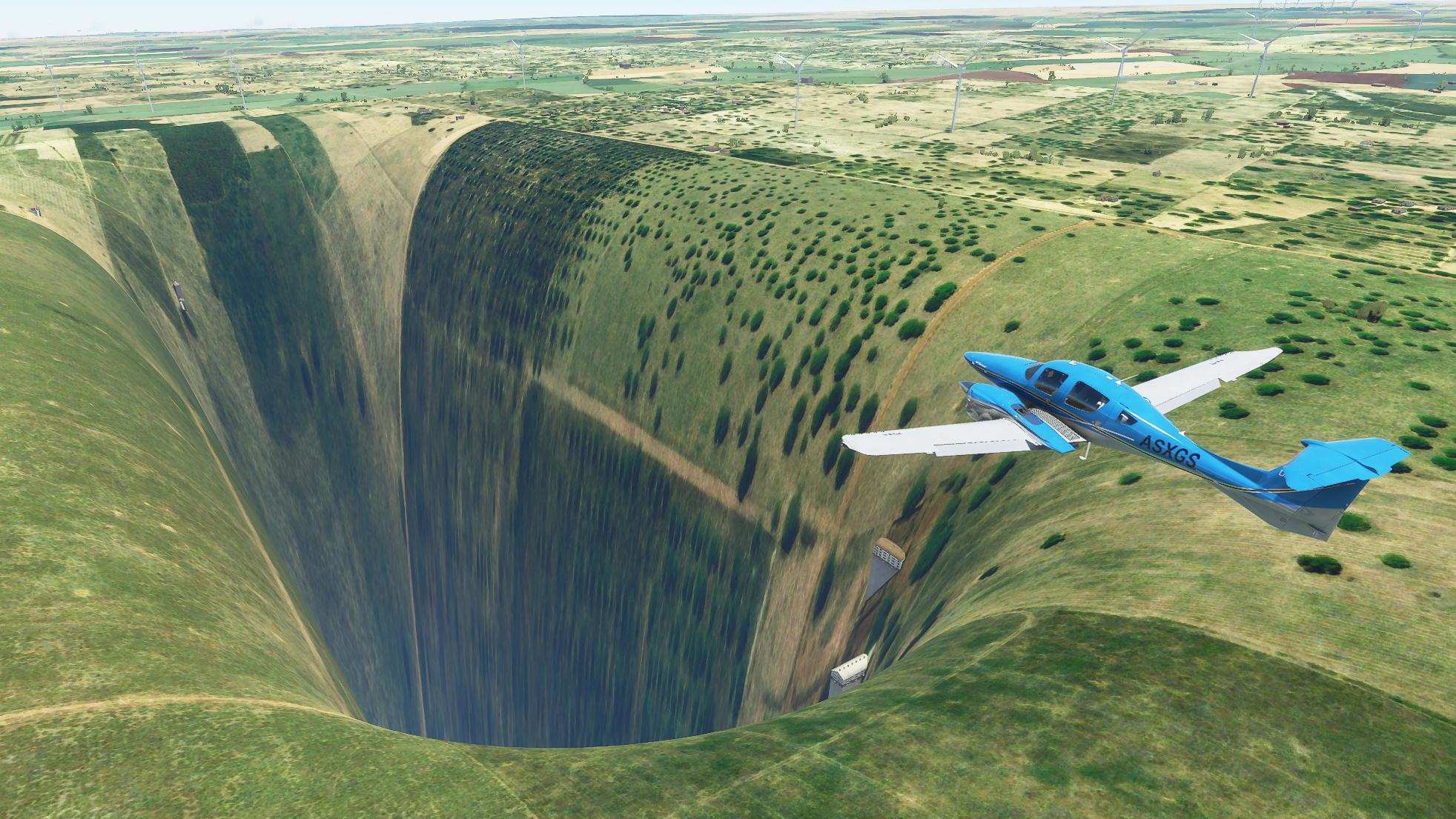 Microsoft Flight Simulator tiene un extraño y horrendo bug que provoca un agujero inmenso con un aeropuerto - HobbyConsolas Juegos
