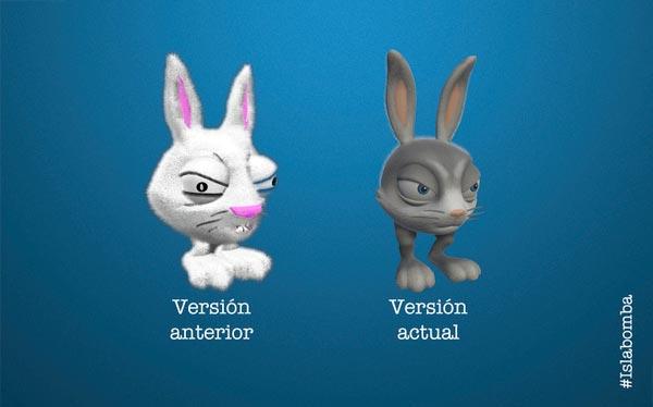 Comparativa de diseño entre las dos versiones de Torito Rabbit
