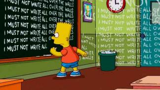 "Los Simpson - Gag pizarra ""I must not write all over the walls"""