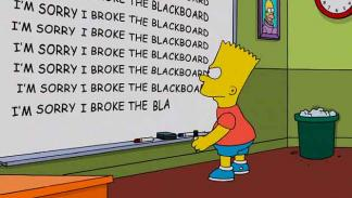 "Los Simpson - Gag pizarra ""I'm sorry I broke the blackboard"""