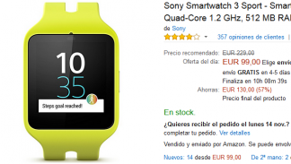 Black Friday Amazon - Sony Smartwatch 3 Sport