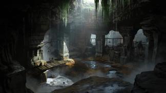 Arte conceptual de las ruinas de Midgard en God of War para PS4