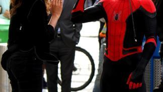 Traje negro de Spider-Man en el rodaje de Spider-Man: Lejos de casa