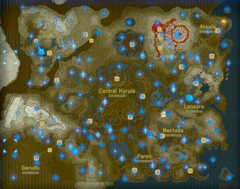 Zelda Breath of the Wild mapa 120 santuarios