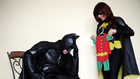 Batman, Batgirl y Robin cosplay