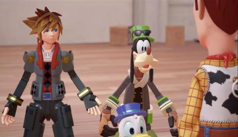 Sora, Goofy y Donald en el mundo de Toy Story de Kingdom Hearts 3