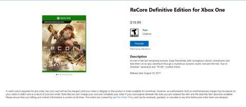 ReCore Definitive Edition listado en la tienda de Microsoft