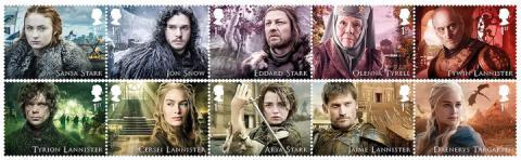 Sellos del Royal Mail de Juego de Tronos