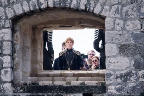 Cersei Lannister en el rodaje de Juego de tronos