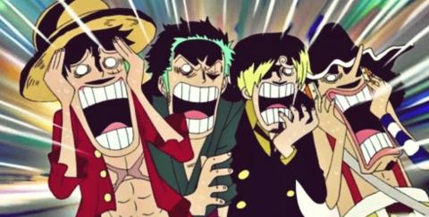 Personajes de One Piece asustados