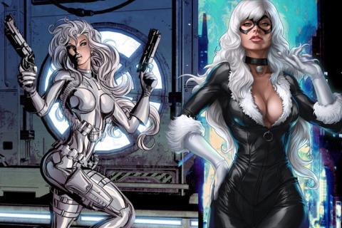 Silver Sable y Gata Negra