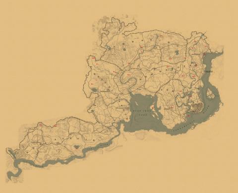 Mapa Red Dead Redemption 2 - Objetos únicos