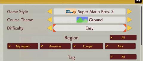 Búsqueda de niveles en Super Mario Maker 2