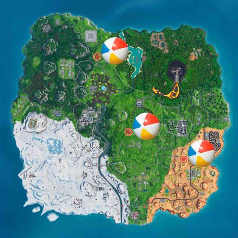 Bota una pelota gigante de playa Fortnite - mapa
