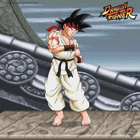 Dragon Ball con los diseños de Street Fighter