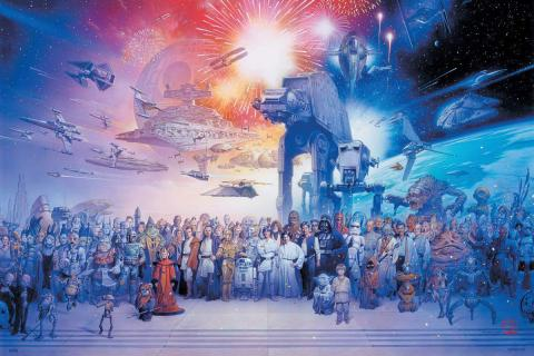 Póster con personajes Star Wars