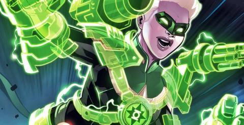 Capitana Marvel convirtiéndose en Linterna Verde