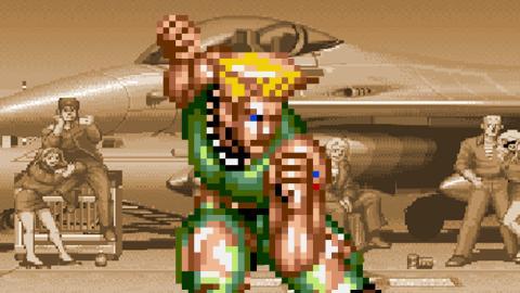 Guile cubriendose y haciendo turtling en Street Fighter II