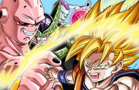 Sie stellen den Vater-Sohn Kamehameha von Dragon Ball in einem spektakulären linsenförmigen Poster nach