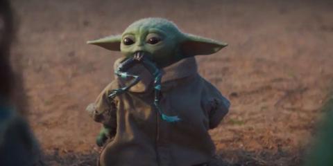 Baby Yoda comiendo una rana