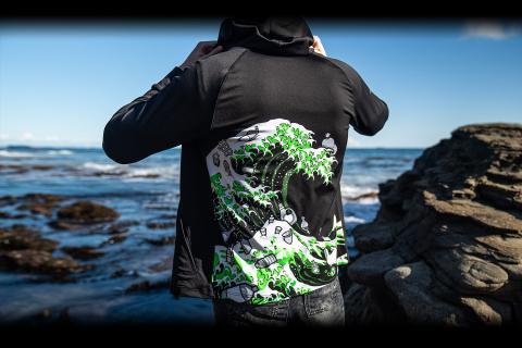 Razer ola de Kanagawa ropa reciclada