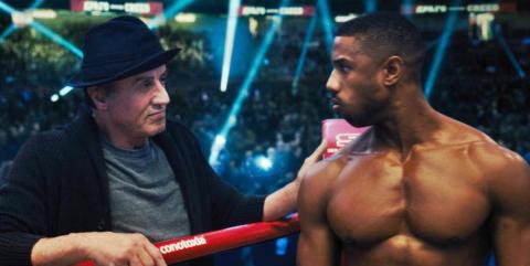 Sylvester Stallone y Michael B. Jordan en Creed II
