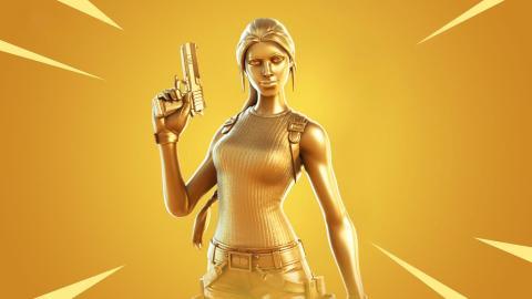 Lara Croft skin dorada